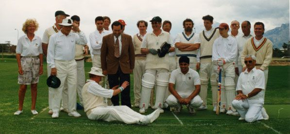 1996 Mayor Tony Fuster & the late Andrew Bond at the opening of the Colombus Oval L'Alfas Del Pi,April 1996. David Oatway is performing some ritual on the ground.